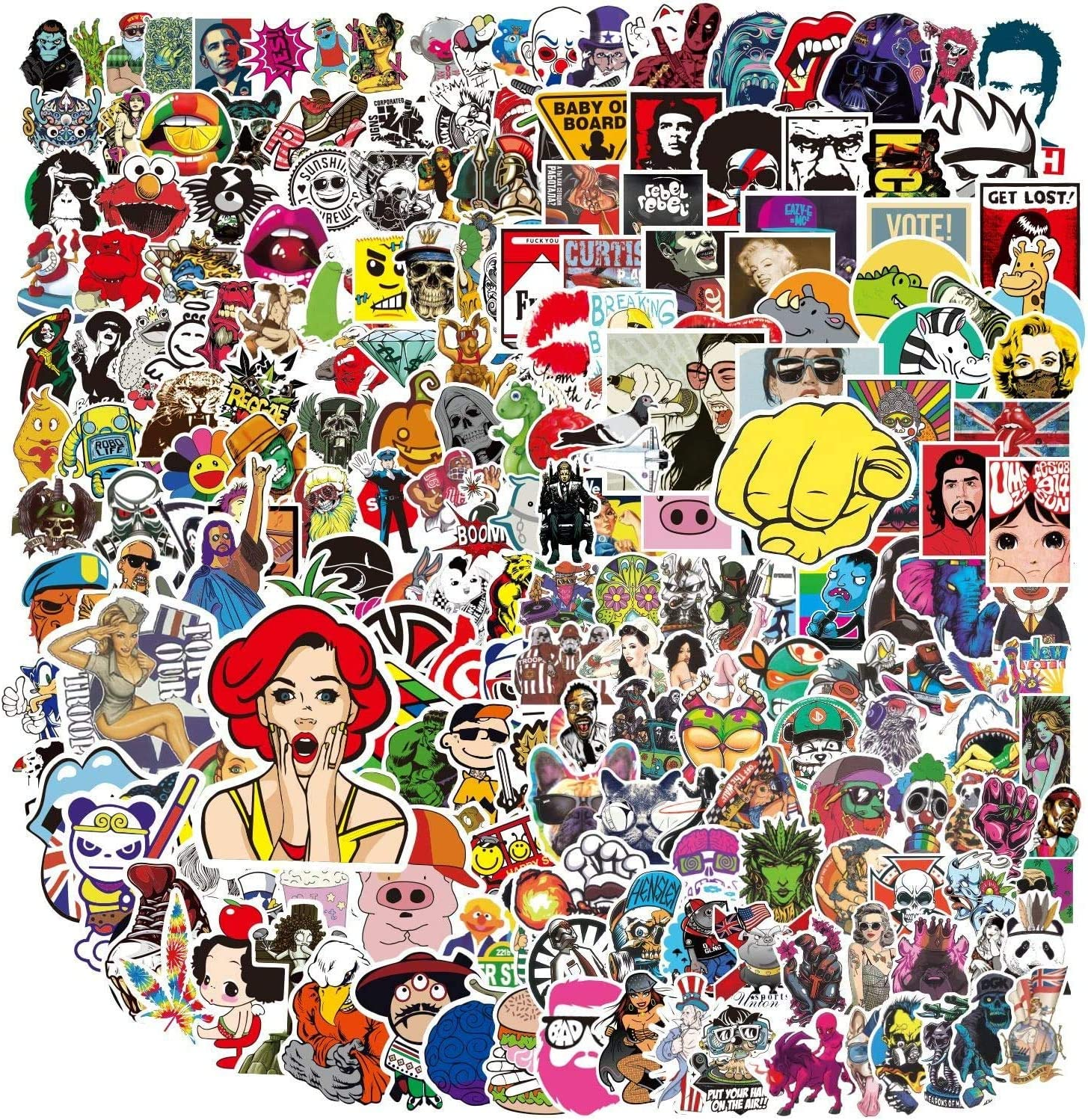400 PCS Adult Stickers Pack,Colorful Waterproof Meme Stickers for Flask, Laptop, Phone, Water Bottle, Motorcycle,Car,Guitar,Cool Aesthetic Vinyl Stickers for Adults