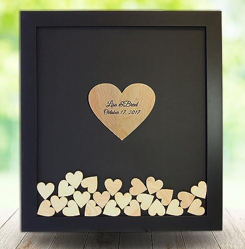 Amazon.com: Wedding Guest Book Alternative, Drop Top Heart Frame ...