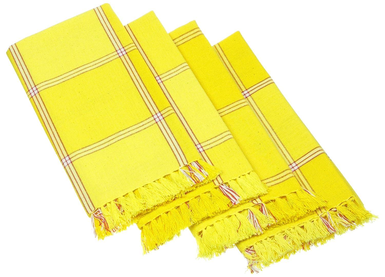 Set of 4 Yellow 18 by 18-Inch Mahogany T415NPYL Cristo Plaid Fringed Napkin