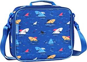 Epessa Kids Lunch Bag for Boys and Girls with Shoulder Strap, Double Insulated Lunch Tote Bento Box Bag for Boys, Perfect Size for Packing Hot or Cold Snacks for School and Travel (Shark)