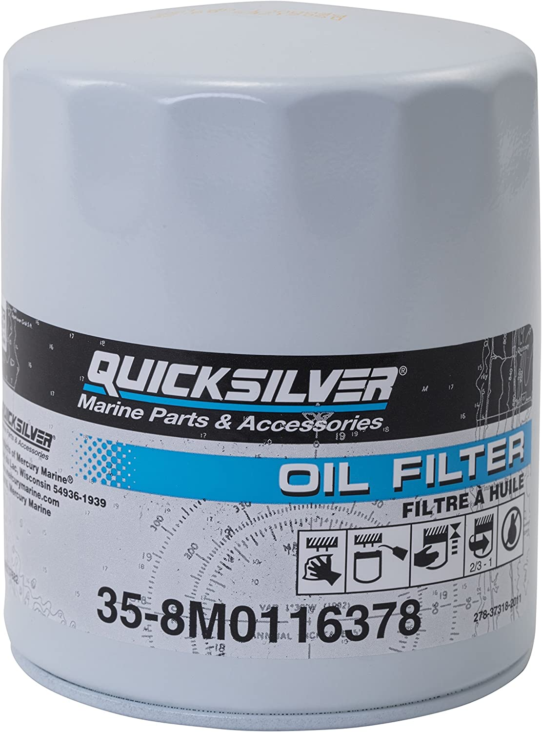 Quicksilver 8M0116378 Oil Filter - MerCruiser Stern Drive and Inboard Engines by Ford Motor Company
