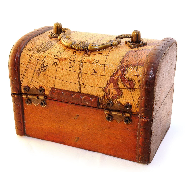 rivestimento in pelle set di 2 forzieri decorativi in stile antico con carte geografiche Ganzoo scrigni in legno per conservare gioielli e ninnoli