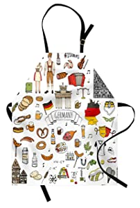 Ambesonne German Apron, Hand Drawn Doodle of German Culture Icons Football Jersey Food Science and Music, Unisex Kitchen Bib Apron with Adjustable Neck for Cooking Baking Gardening, Multicolor