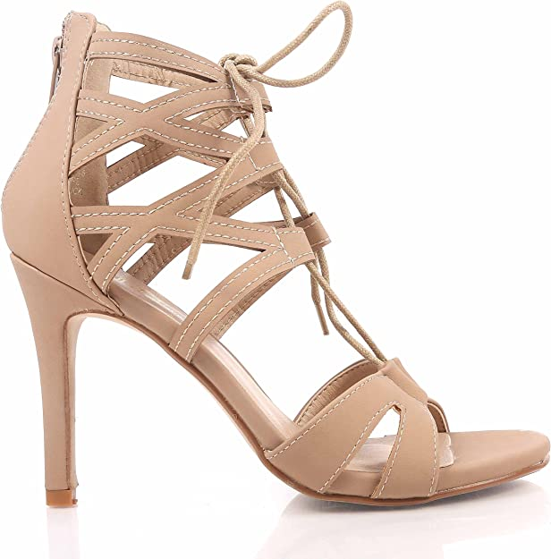 Taupe Sexy Nubuck Adjustable Lace Up Womens Sandals High