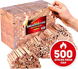 Kindling wood sticks 500pc - Fire starter sticks for campfires / fireplace / bbq / wood stove - Natural firestarters from 100% oak better than fatwood fire starters