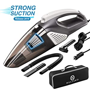 Helteko Car Vacuum Cleaner Corded DC 12V - High Power Portable Hand Vacuum Cleaner with Stainless Steel HEPA Filter and LED Light - 120W Car Vac with 3 Accessories and Carrying Bag for Car Use Only
