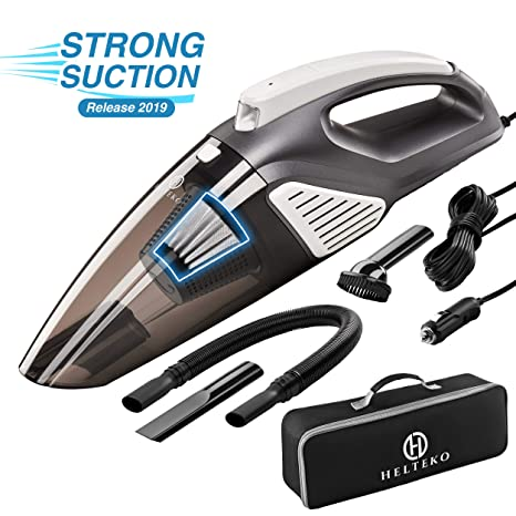 Helteko Car Vacuum Cleaner Corded DC 12V - High Power Portable Hand Vacuum  Cleaner with Stainless Steel HEPA Filter and LED Light - 120W Car Vac with
