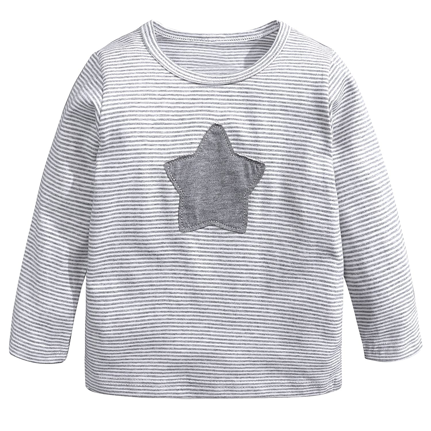 Mary ye Kids Girls Boys Star Striped Long Sleeve Cotton T Shirts Toddler Crew Neck T-Shirts Children's Infants Tee