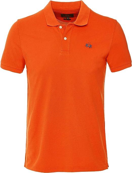La Martina Hombres Slim Fit Rick Polo Camisa Naranja L: Amazon.es ...