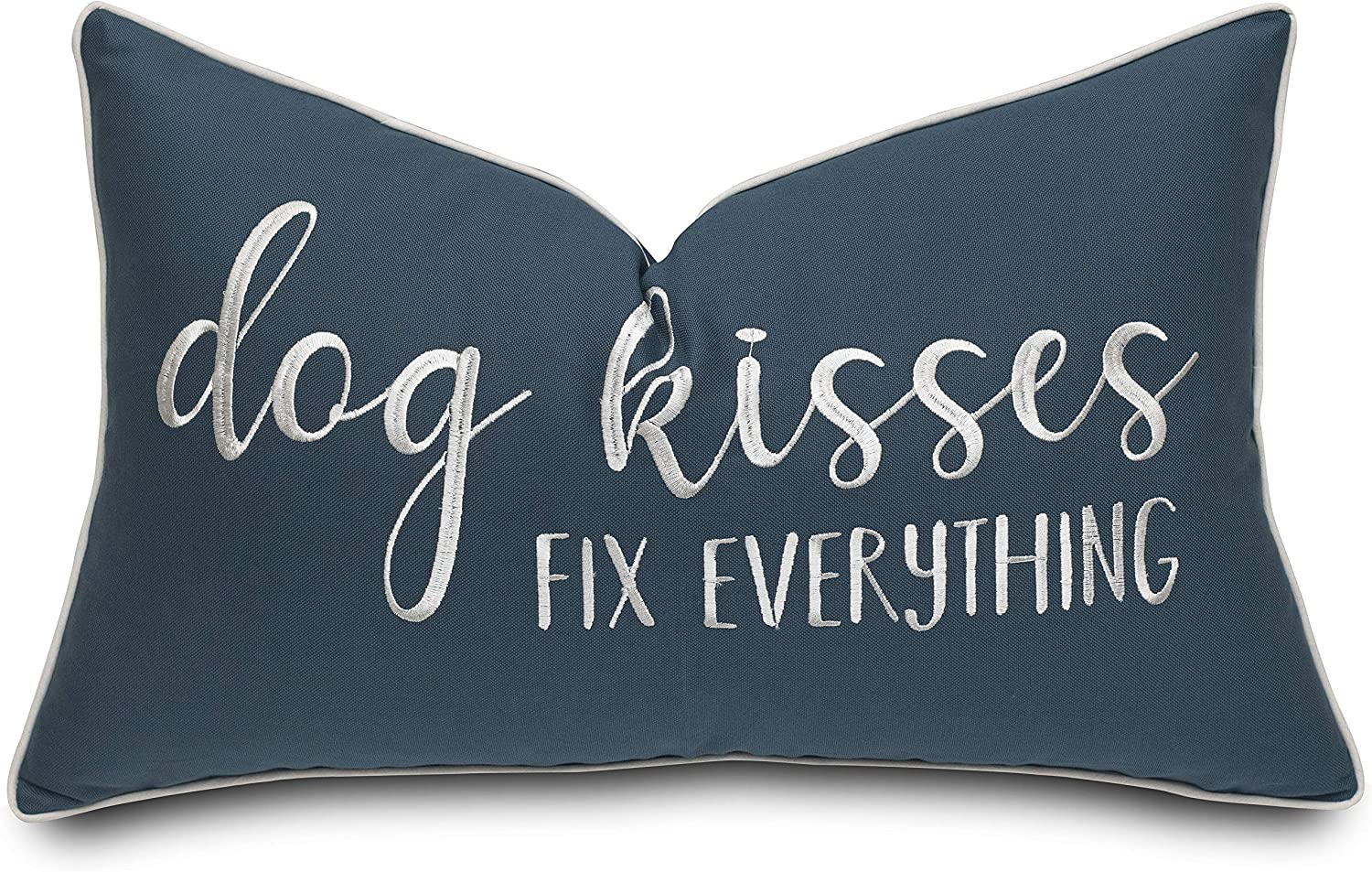 Rudransha Dog Kisses Fix Everything Embroidered Lumbar Accent Throw Pillowcase - Gift for Pet Lover, Home Decor - 12x20 Inches, Teal