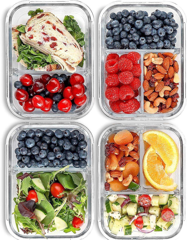 FIT Recipientes de 2, 3 compartimentos para comidas [Paquete de 4, 1000 ML] - Recipientes con tapas para almacenar comida, recipientes sin BPA, bento, vianda, control de porciones, herméticos