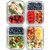 2 & 3 Compartment Glass Meal Prep Containers (4 Pack, 32 oz) - Glass Food Storage Containers with Lids, Airtight Glass Lunch Containers, Glass Bento Boxes for Adults & Kids