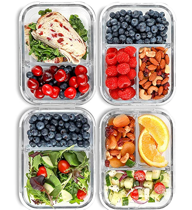 2 & 3 Compartment Glass Meal Prep Containers (4 Pack, 32 oz) - Glass Food Storage Containers with Lids, Airtight Glass Lunch Containers, Glass Bento Boxes for Adults & Kids, Portion Control Containers