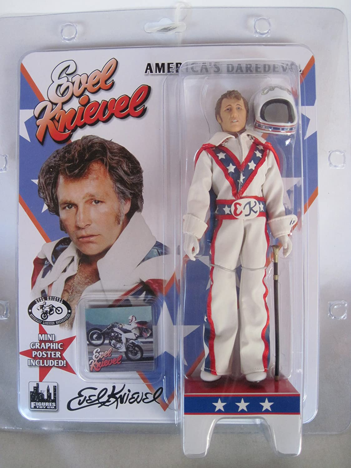 Amazon com evel knievel 8 action figure with white jumpsuit cane helmet toys games