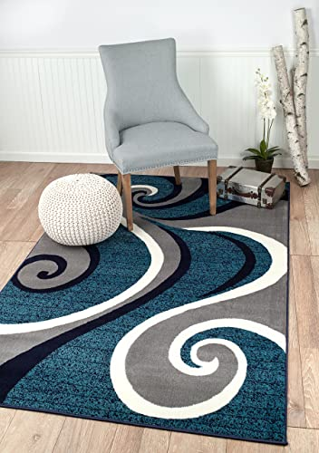 Summit New 32 Swirl Blue Navy White Light Gray Area Rug Abstract Carpet Sizes Available , 8 X 11 ACTAUL IS 7 .4 X 10 .6