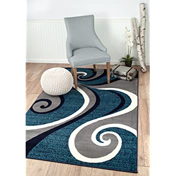 Amazon Com 0327 Blue White Gray 5 X 7 Area Rug Abstract