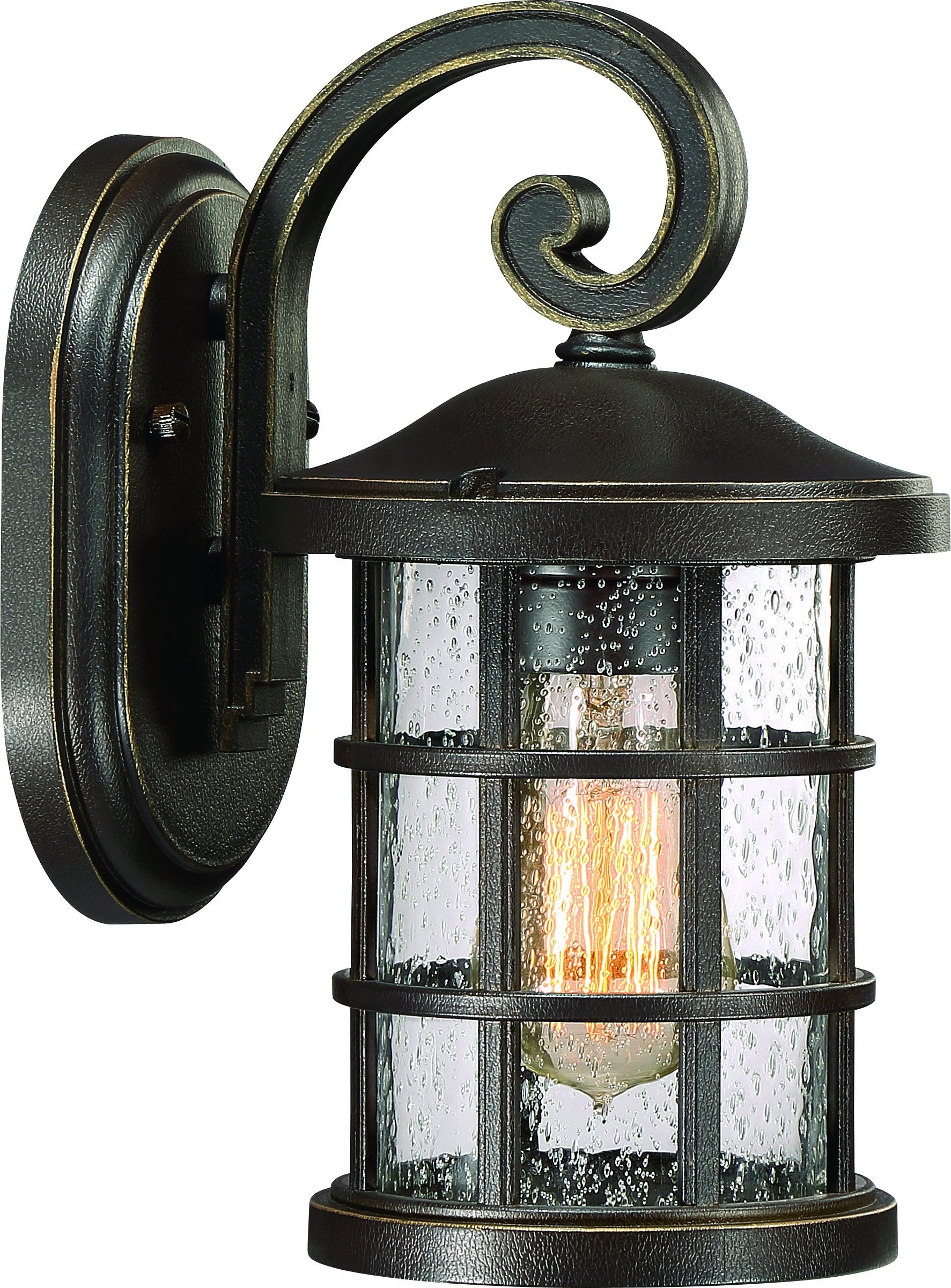 Luxury Craftsman Outdoor Wall Light, Small Size: 11'' H x 6'' W, with Tudor Style Elements, Wrought Iron Design, Oil Rubbed Parisian Bronze Finish and Seeded Glass, UQL1041 by Urban Ambiance by Urban Ambiance (Image #1)