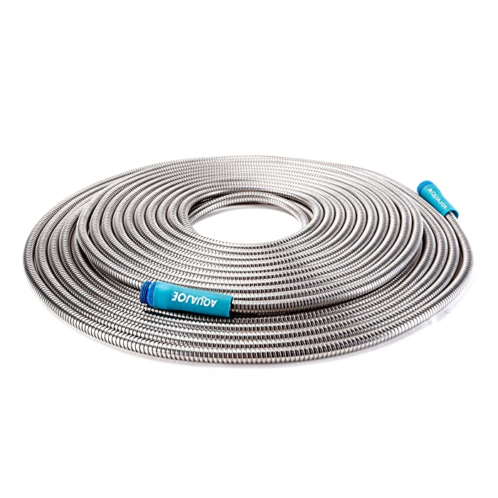 "Sun Joe AJSGH100 1/2"" Heavy-Duty Spiral Constructed Stainless Steel Metal Garden Hose, 100 Foot"