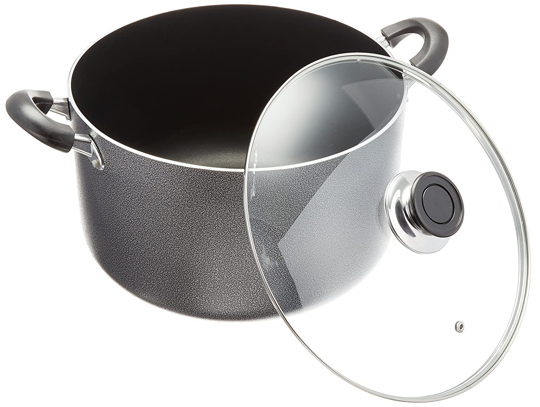 Black 10 quart 4018-10G/_UPC Uniware Non-Stick Aluminum Stock Pot With Glass Lid