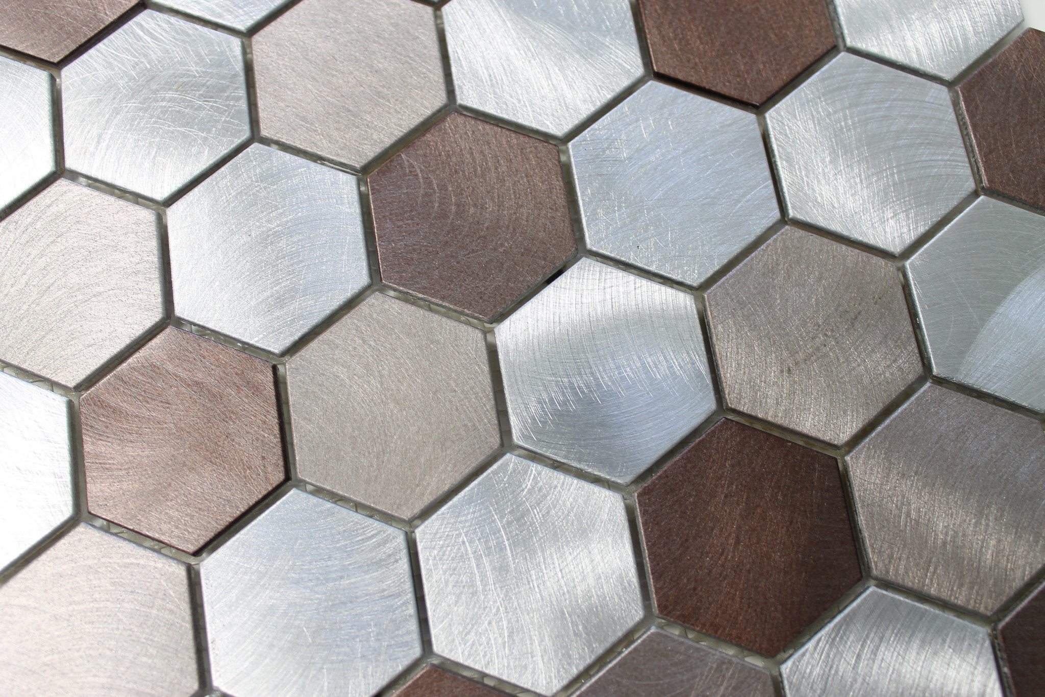 10 Square Feet - Casablanca Aluminum Metal Hexagon Mosaic Tiles by Rocky Point Tile