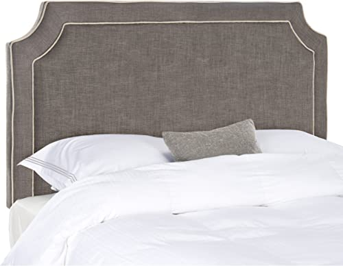 Safavieh Dane Charcoal Grey Light Grey Piping Linen Upholstered Headboard Queen
