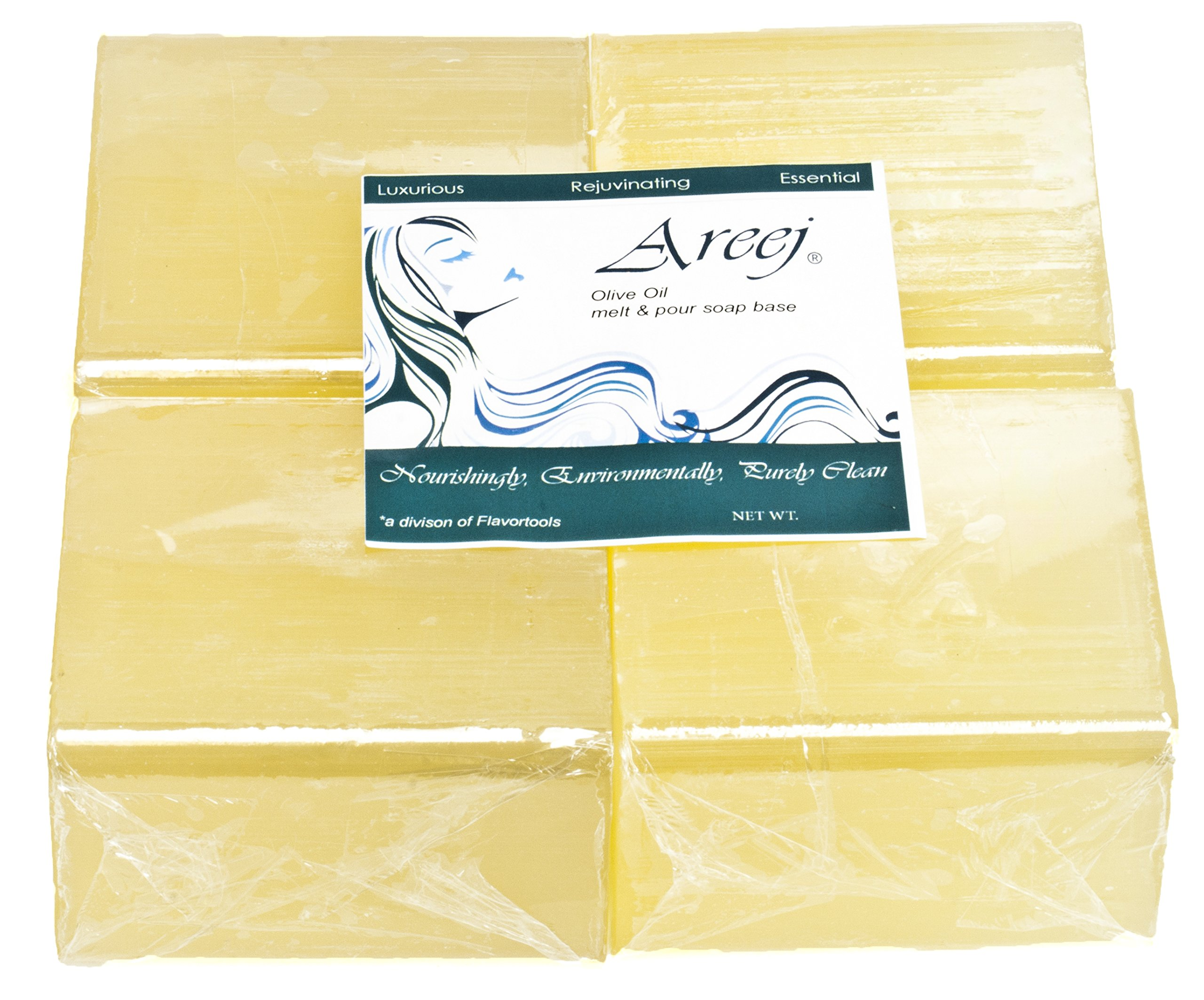 Areej Hypo-Allergenic Biodegradable Olive Oil Soap Base made with 100% Pure Natural Glycerin - 2 Pounds