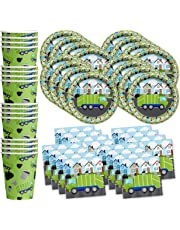 Garbage Trash Truck Party Supplies Set Plates Napkins Cups Tableware Kit for 16