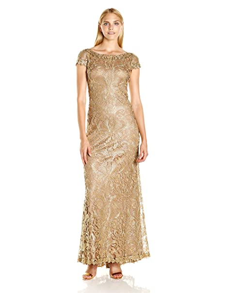 555c71bb2eb2 Tadashi Shoji Women's Cap Sleeve Embroidered Lace Gown Gold: Amazon.ca:  Clothing & Accessories