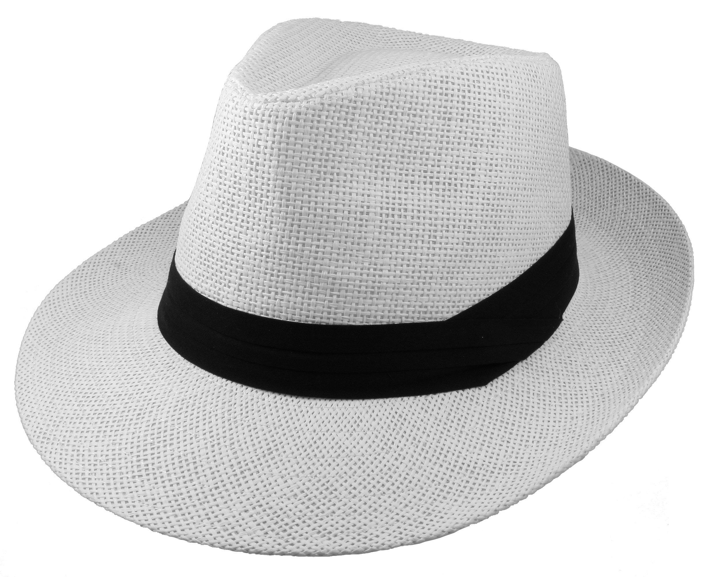 Gelante Wide Brim Summer Fedora Panama Straw Hats with Black Band M255-White-L/XL