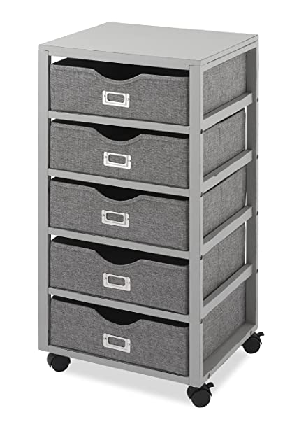 Whitmor Multipurpose Storage Cart With 5 Removable Bins, Gray