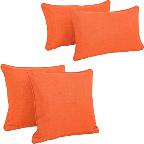 Blazing Needles Double-Corded Solid Outdoor Spun Polyester Throw Pillow