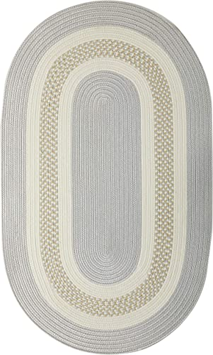 Crescent Oval Area Rug, 2 by 3-Feet, Silver