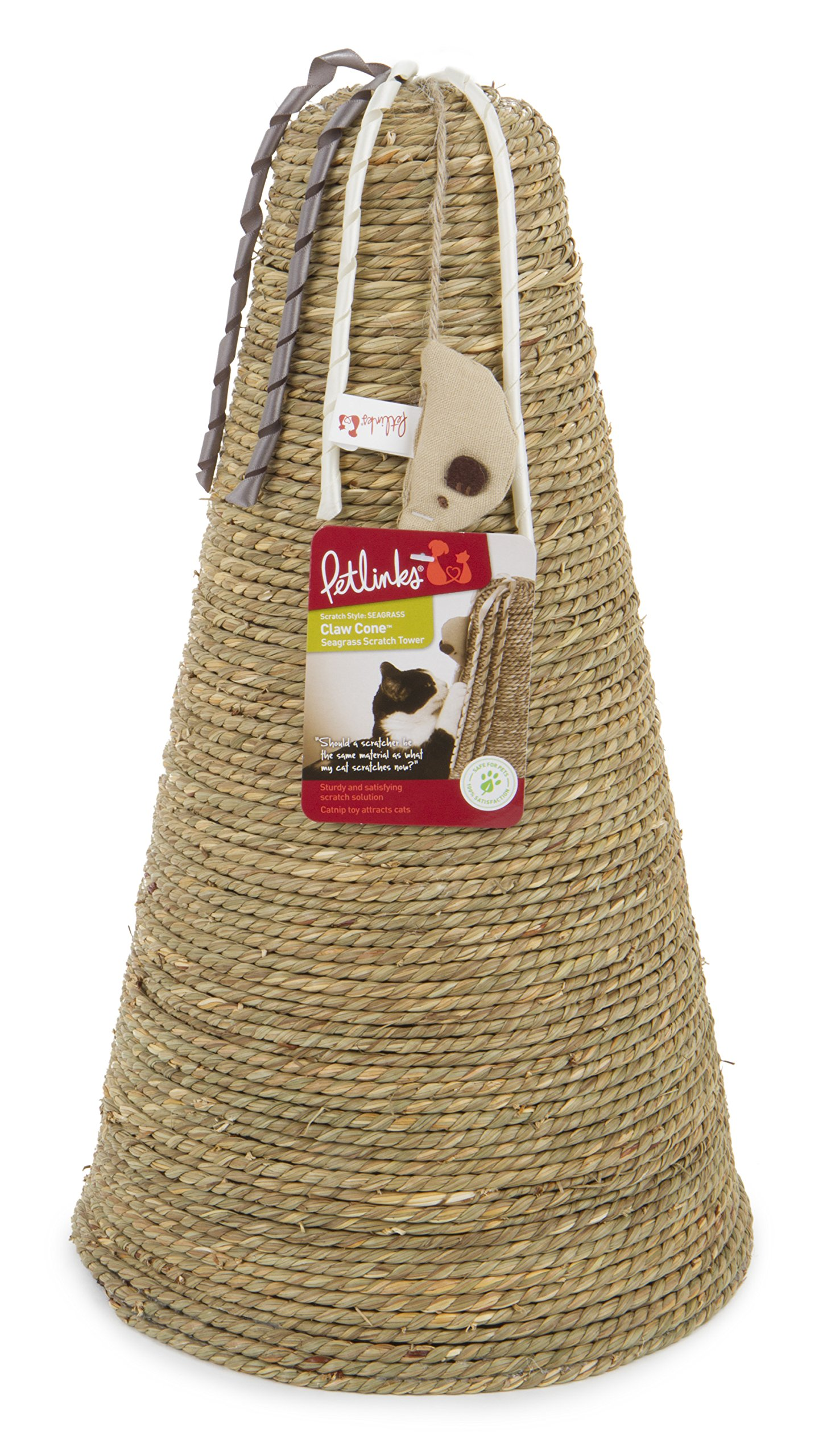 Petlinks 49207 Claw Cone Seagrass Cat Scratch Tower with Catnip Toy & Ribbons
