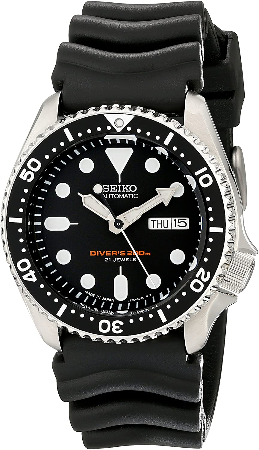 Seiko SKX007J1 Analog Japanese-Automatic Black Rubber Diver s Watch