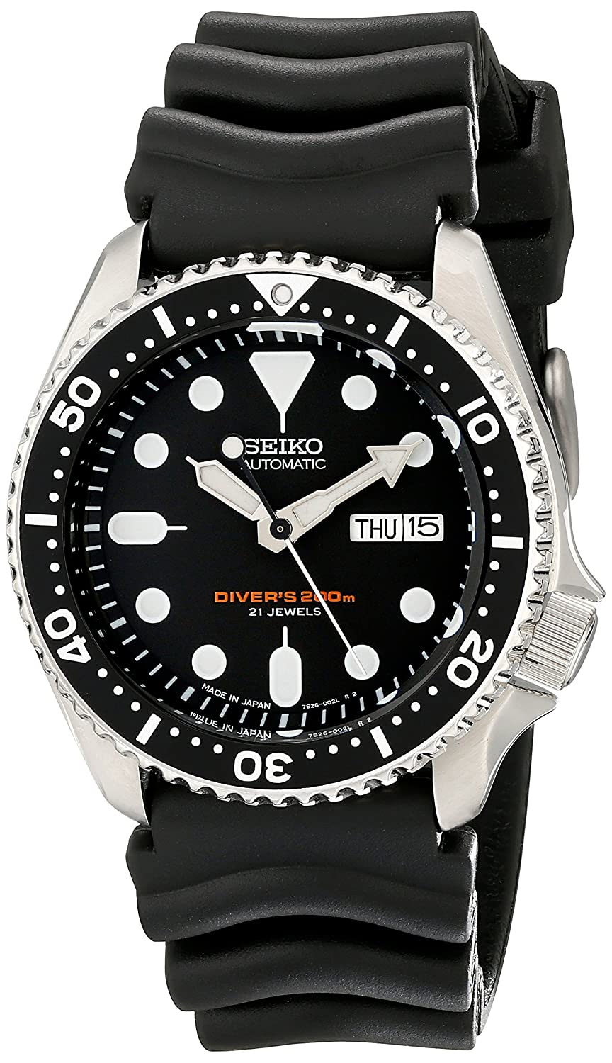Amazon.com  Seiko SKX007J1 Analog Japanese-Automatic Black Rubber Diver s  Watch  Watches e64698f300b8