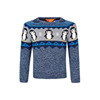 Mountain Warehouse Penguin Knitted Kids Jumper - 100% Cotton, Lightweight, Breathable & Natural Fibres, Fun Design, Colourful Print - Perfect for Kids in Winter