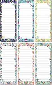 """SWEETZER & ORANGE 6-Pack Magnetic Grocery List for Fridge (Floral Theme) - 3.5"""" x 9"""" Memo Notepad for Shopping, Locker, Filing Cabinet, To Do, Appointment Reminders, Meal Plans 