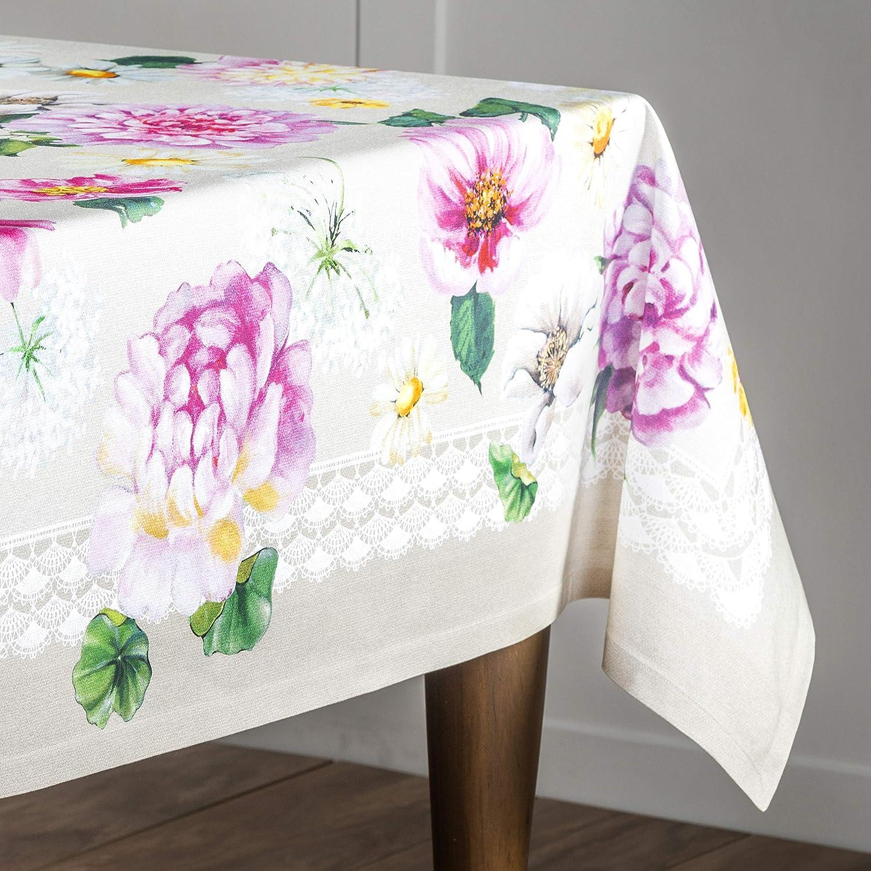 Maison d Hermine Pivoine 100/% Cotton Tablecloth 69 Inch Round Aspero