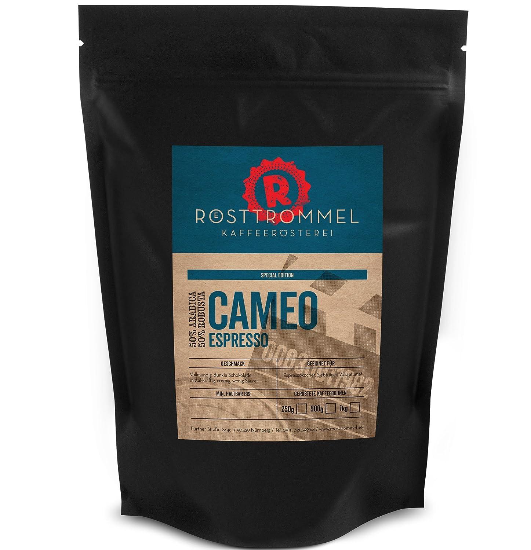 Granos de espresso CAMEO - edición especial - chocolate negro, de media resistencia, cremoso de granos de café asado a mano-para máquina de café ...