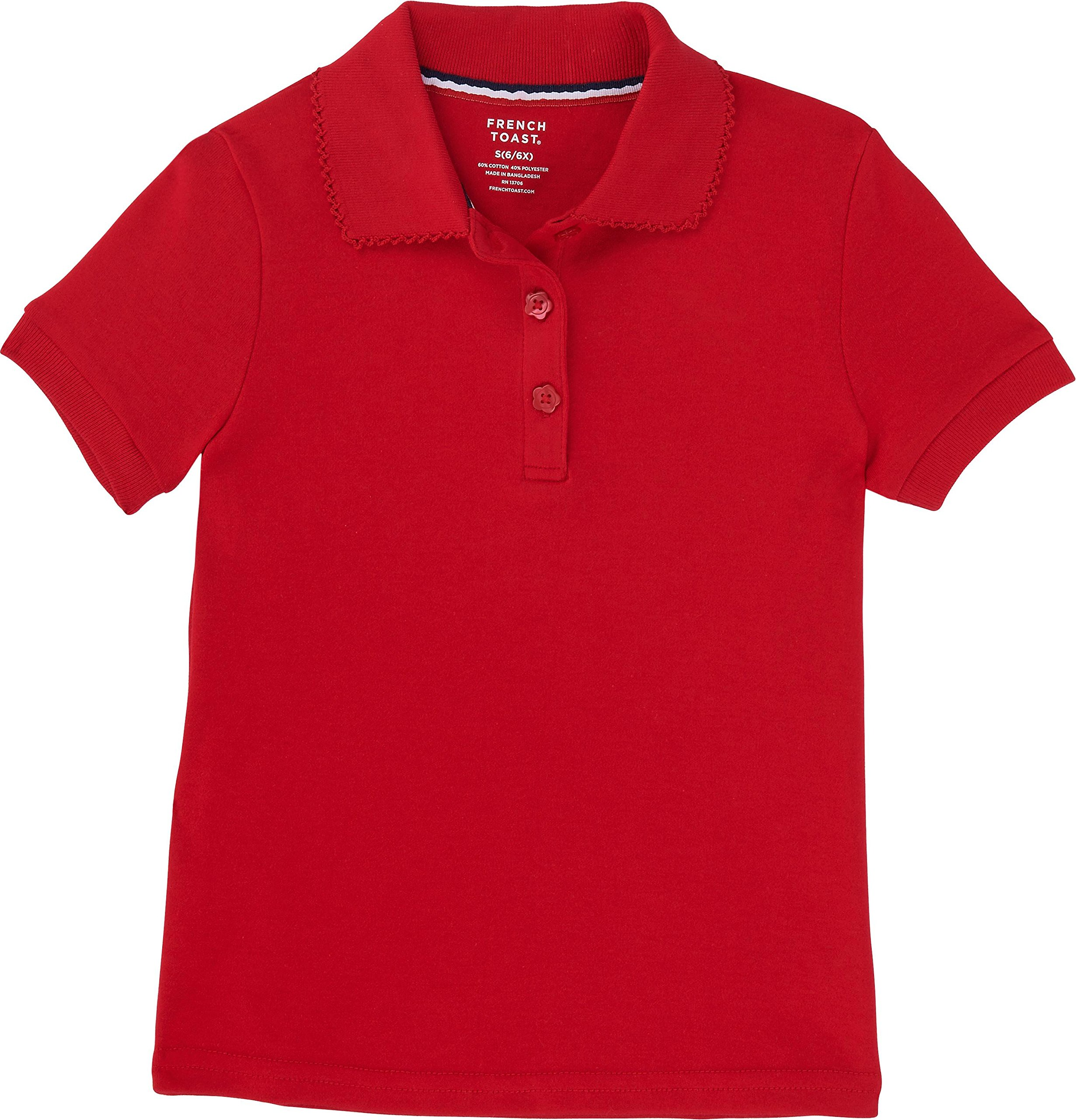 French Toast School Uniform Girls Short Sleeve Interlock Polo w/Picot Collar, Red, Medium Plus (10/12P) by French Toast