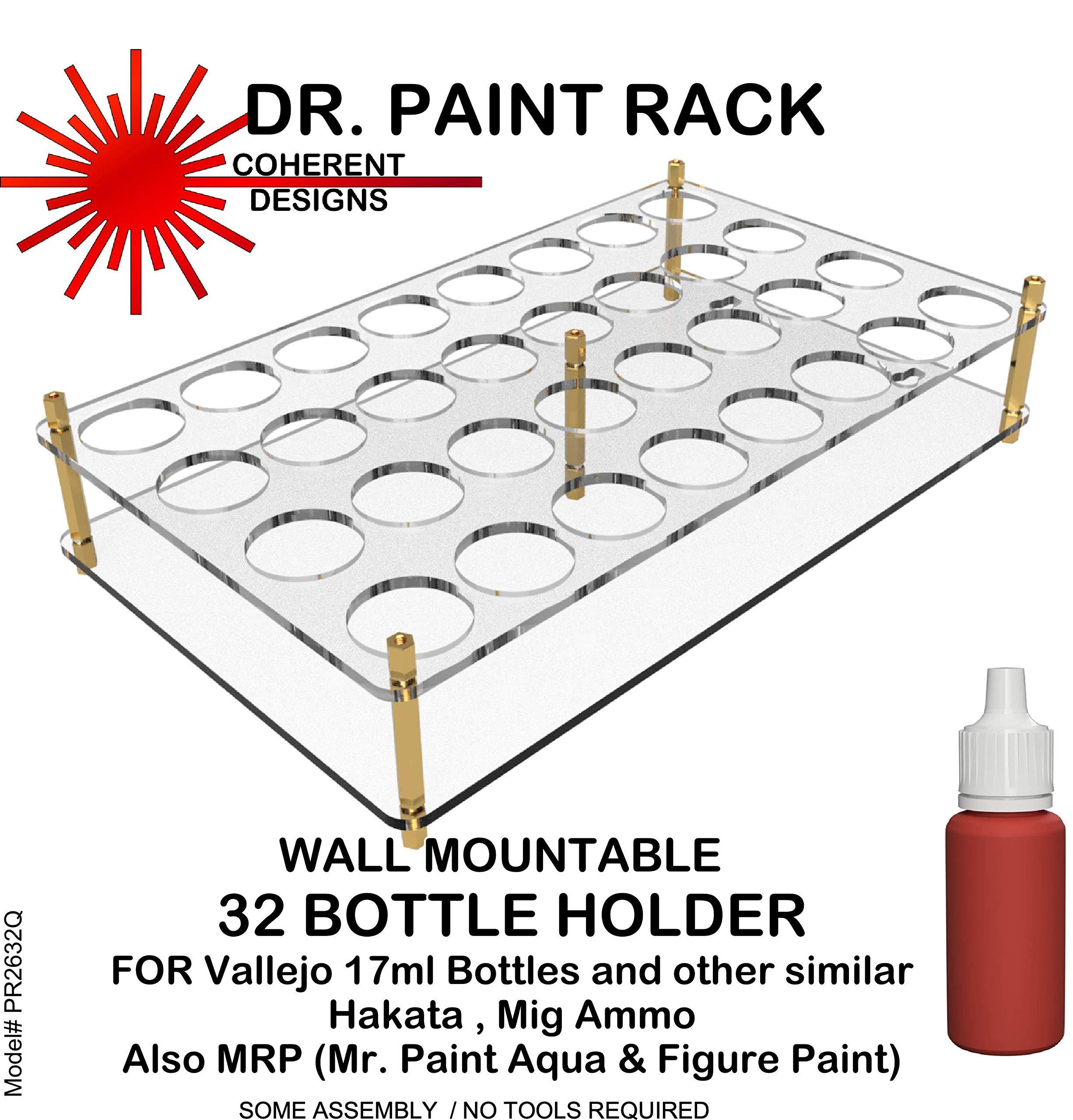 COHPR2632Q Dr Paint Rack - Wall Mountable 32 Bottle Holder (for Vallejo/Hataka/Ammo 17ml Type Bottles)