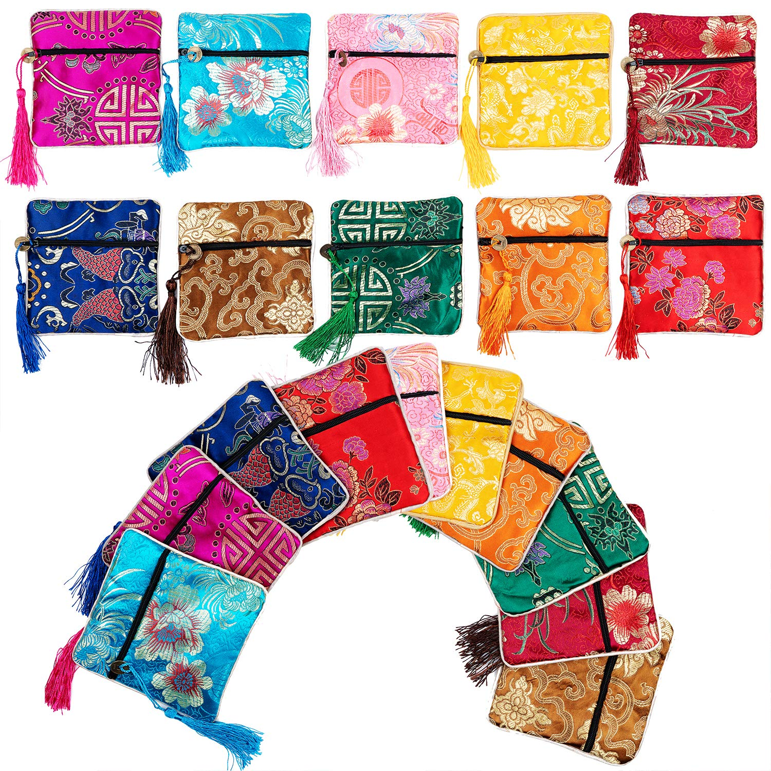 30PCS Silk Brocade Coin Bags Pouches with Drawstring, Jewelry Gift Bag Candy Sachet Pouch Small Chinese Embroidered Organizers Pocket for Women Girls Dice Necklaces Earrings Bracelets, Mix Colors