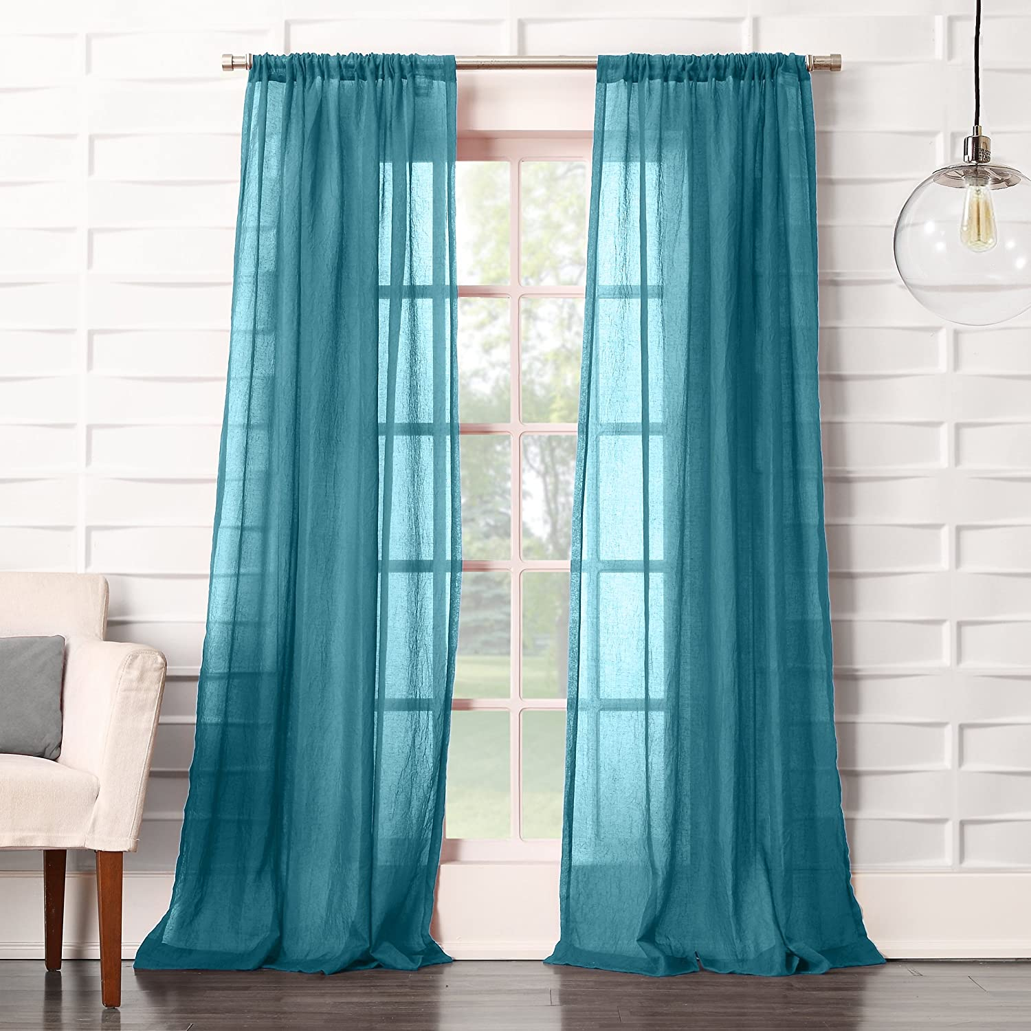 50 x 63 Teal Blue No 918 Tayla Soft Crushed Linen Texture Rod Pocket Curtain Panel