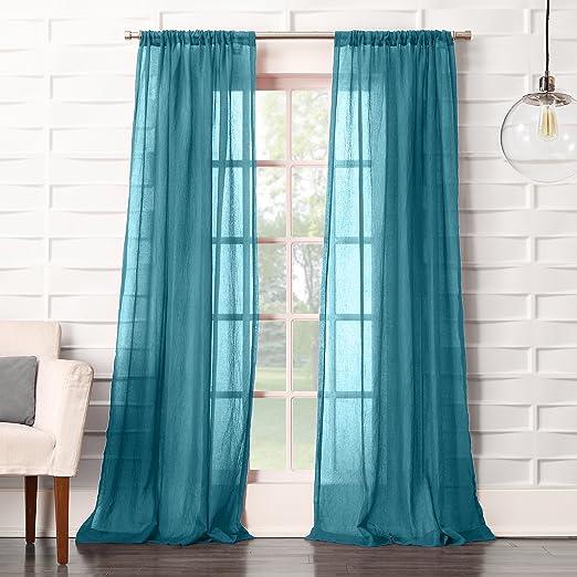 Amazon Com No 918 44072 Tayla Crushed Texture Semi Sheer Rod Pocket Curtain Panel 50 X 63 Marine Teal Home Kitchen
