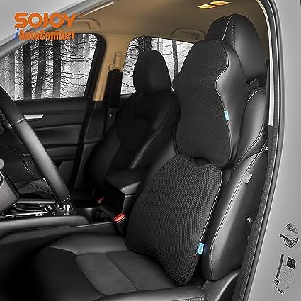 Sojoy Patented Universal Ergonomic Streamlining Car Seat Cushion Lumbar Neck Support 17x13x6