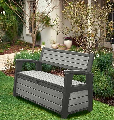 Amazing Hudson Keter Iceni Eden Plastic Garden Storage Bench Box Waterproof Machost Co Dining Chair Design Ideas Machostcouk