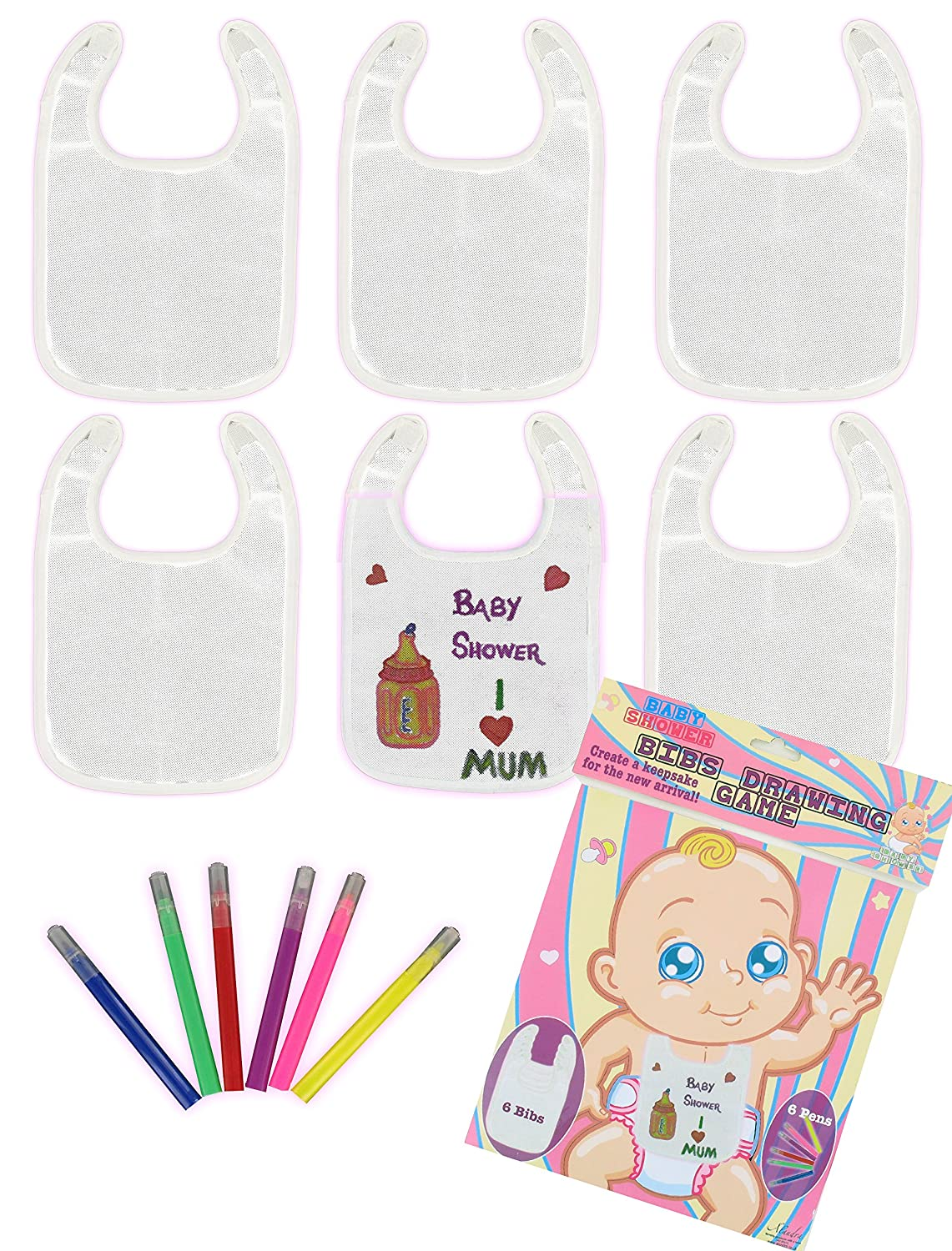 Alandra Baby Shower Bibs Drawing Game BABY-BIBS