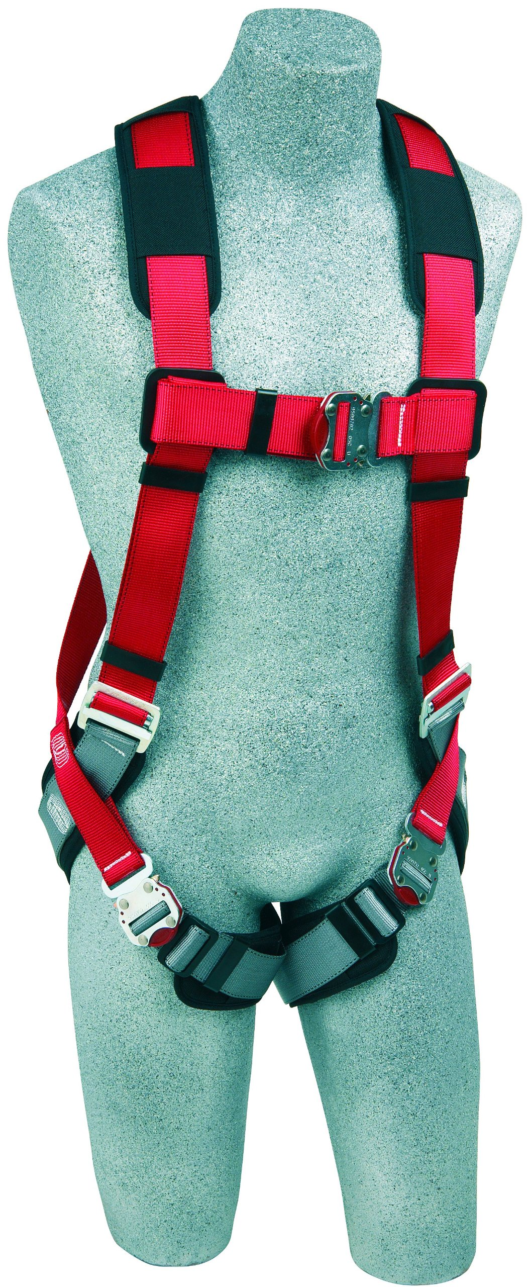 3M Protecta PRO 1191253 Fall Protection Full Body Harness with Back D-Ring,Quick Connect Buckle Legs, 420  lb. Capacity, Medium/Large, Red/Gray