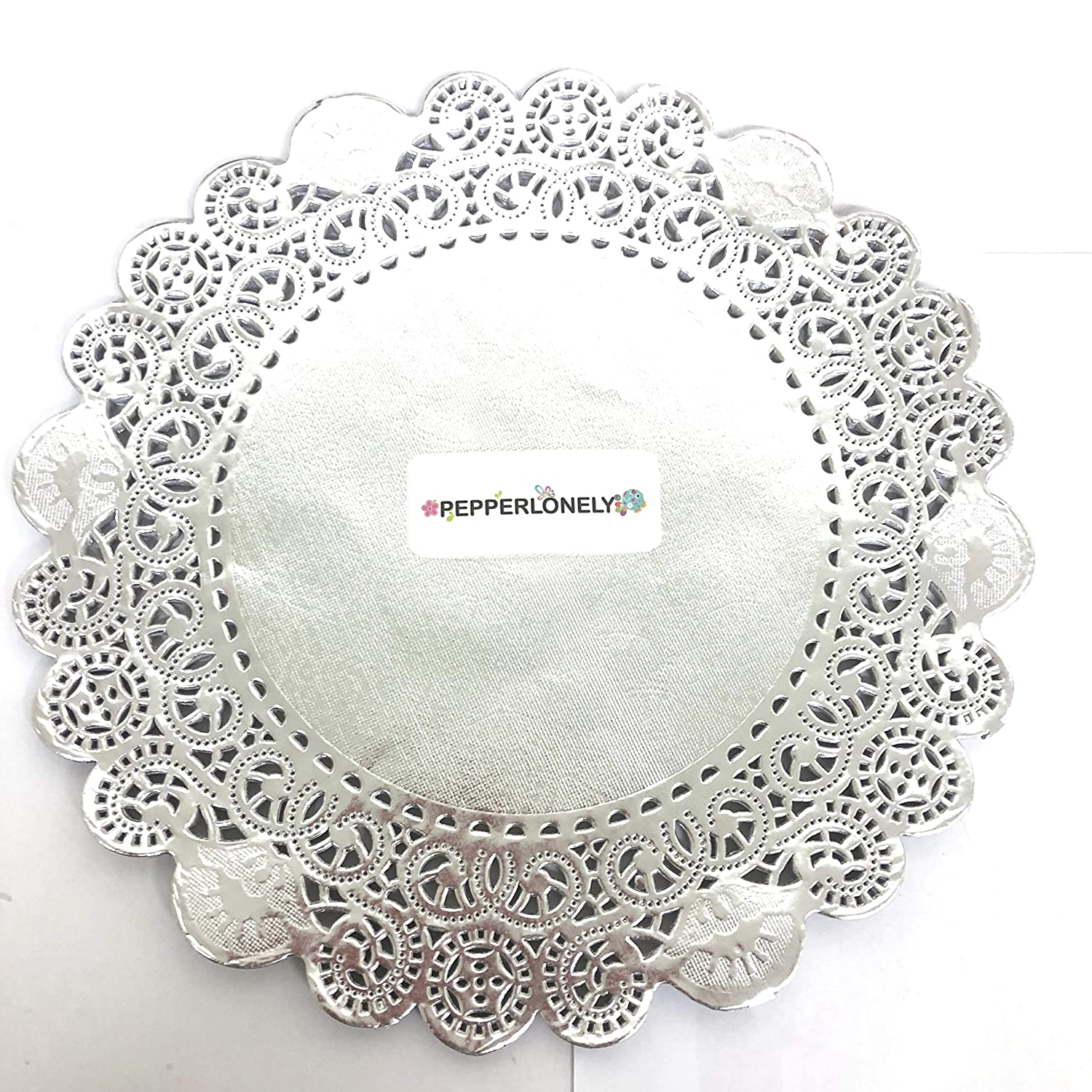 12 Inch PEPPERLONELY 25 PC Silver Classic Metallic Doilies