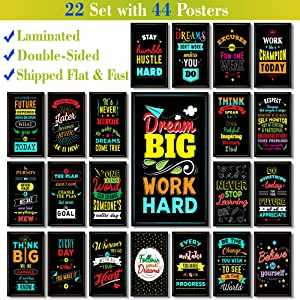 22 Set 44 Posters - Laminated - V2 - Motivational Posters for Classroom & Office Decorations - Inspirational Quote Wall Art for Teachers, Students, School Counselors, Home & Office